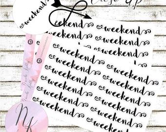 12 Weekend Stickers, Stickers, Banner sticker, use with Erin Condren Planner(TM), Happy Planner, planner, Traveler Notebook