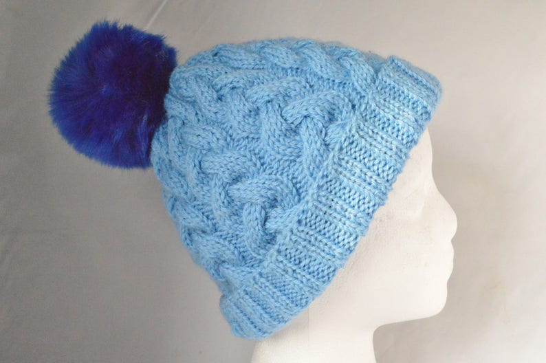 9e264324e72 Blue Cable Knit Pom Pom Hat Hand Knit Cable Hat Chunky
