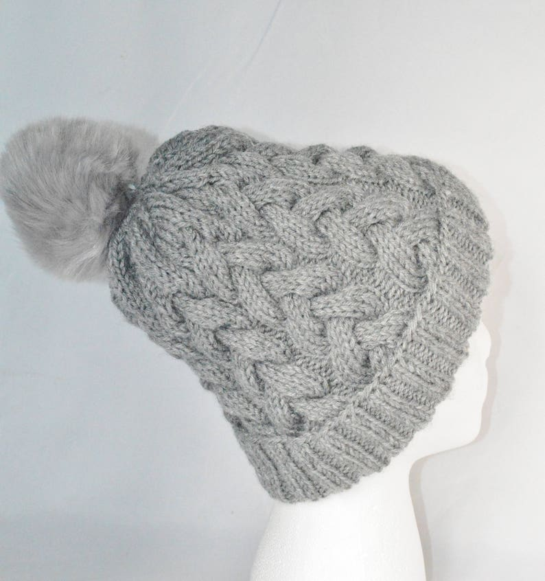 79eca49fb4b Women s Cable Knit Hat With Pom Pom Gray Slouchy Beanie