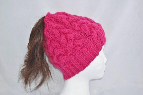 7b3ae30b67831 Messy Bun Beanie Ponytail Beanie Hand Knit Bun Hat Messy