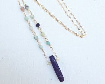 Lapis Lazuli and Aventurine on gold chain / blue and green necklace / lapis pendant / aventurine chain