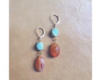 Carnelian and Peruvian Opal / blue and orange / stone jewelry / gemstone earrings / stone earrings / statement earrings
