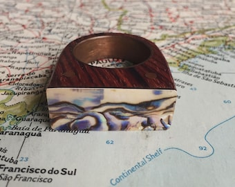 Abalone Top Wood Ring / exotic wood ring / Statement Ring / Cocobola Ring / Abalone Shell/ ring size 10.5