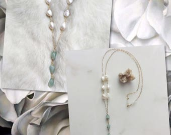 Aquamarine drop necklace on pearl chain / Aquamarine necklace / Pearl Necklace / Stone Necklace / raw stone jewelry / Long Necklace