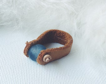 Ghana Glass Ring / Handmade Ring / Blue Ring / Leather Ring / size 7.5 ring