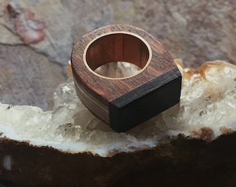 Handmade Wood Ring / Exotic Wood Ring / Snakewood and Ebony Ring