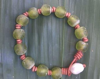 Green Ghana Glass Bracelet / Waxed Leather Bracelet / Stacking Bracelet