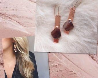 Cherry Quartz & Copper bar earrings / 14k Rose Gold ear wires