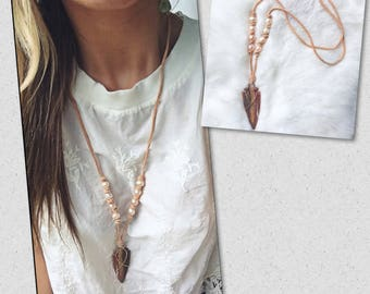 Arrowhead Necklace with Pearls & Leather / Adjustable Leather Arrowhead Necklace / Pearl Leather and Arrowhead Necklace