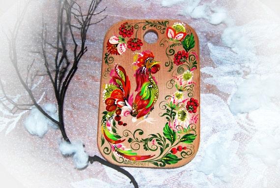 peinture de planche à découper cuisine de cuisson sur mesure de planche de bois rustique ferme cadeau à décor neuf années peint à la main de la tradition folklorique wall Decor coq