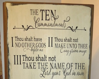 Ten Commandments Antiqued Wall Hanging, Bible, God, Religion, Home Decor