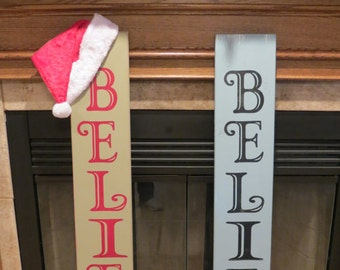 Porch Sign, Welcome, Believe, Holidays, Christmas Home Decor, Decoration, Farmhouse Porch Sign, Christmas Decorations