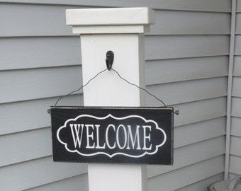 Welcome Sign, Post Wood Sign, Home Decor, Outdoor Decor, Porch Decor, Yard Decor