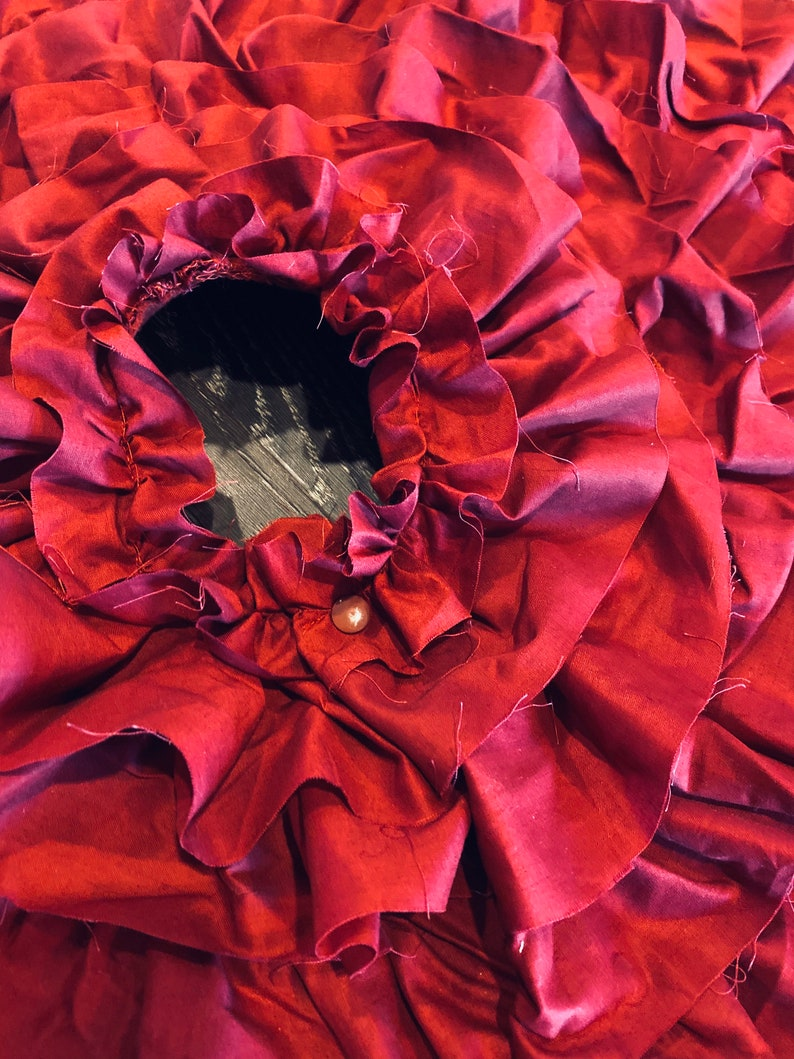 Red Frayed Muslin Ruffled Tree Skirt Sewn 30 inches READY TO SHIP