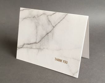 Marble Thank You letterpress greeting card