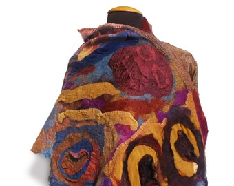 Nuno Felted Shawl Fall Vibes; 72in. x 20in.; OOAK; Statement Shawl; Unique Gift;Autumn Colors