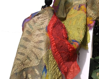 Nuno felted Shawl GOLDEN OLIVE /Earthly Colors;apr.72in.x 25-30 in.; Autumn, Red, Woman's Wrap;Textured Shawl