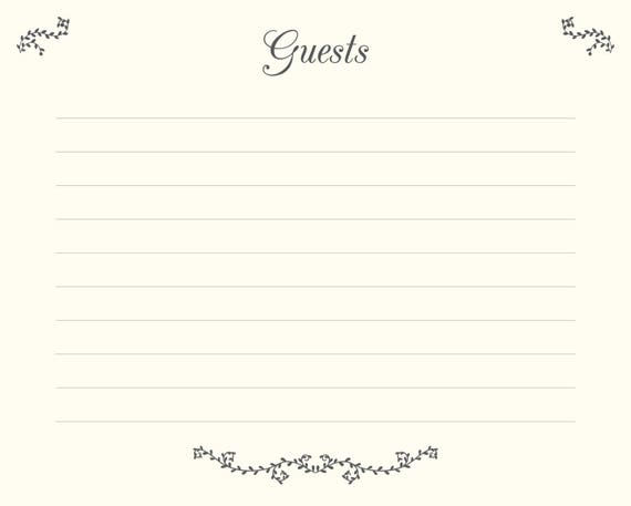 wedding guest book pages printable file guests template etsy