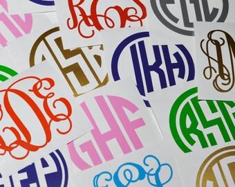 Monogram Decals 5 Pack Personalized Script Vine Sticker Etsy