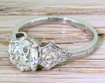 Art Deco 1.51 Carat Old European Cut Diamond Engagement Ring, circa 1925