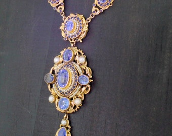 Austro Húngaro Natural zafiro y perla collar 1710bebe76de