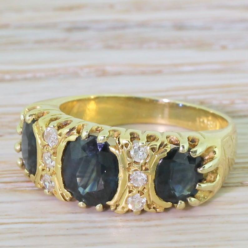 Late 20th Century Sapphire /& Diamond Trilogy Ring circa 1975