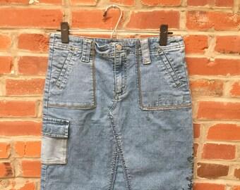 Vintage 90s Blue Embroidered Denim Jean Skirt Womens Cargo Pocket