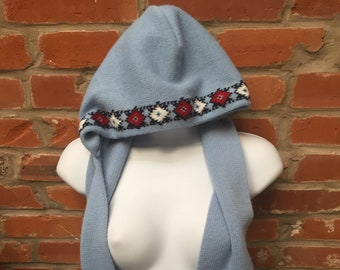 Vintage Mid Century Blue Hooded Scarf Womens