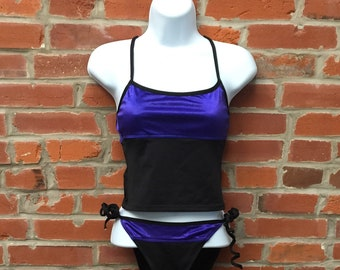 Vintage 90s Purple Black Tankini Swimsuit Womens