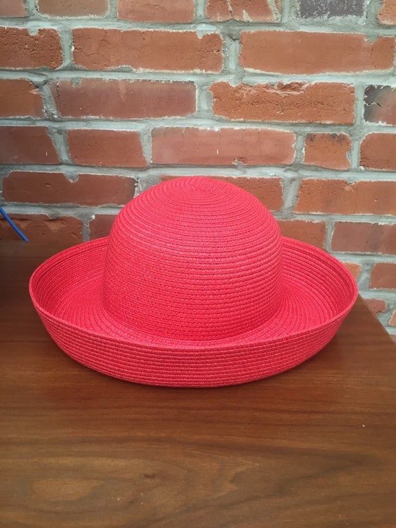 23be2caf22e Vintage 90s Red Woven Sun Hat Summer Beach Womens