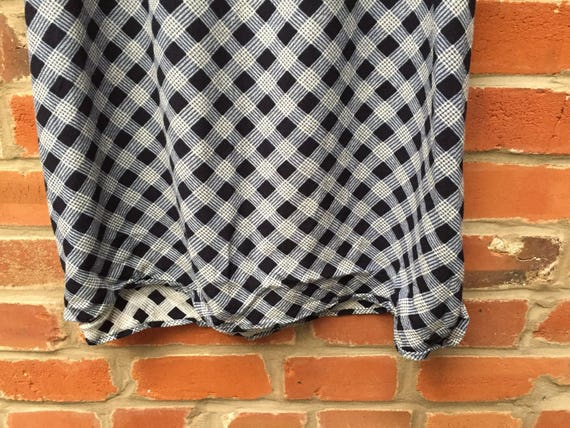 Vintage 90s Blue White Plaid Check Maxi Skirt Wom… - image 3