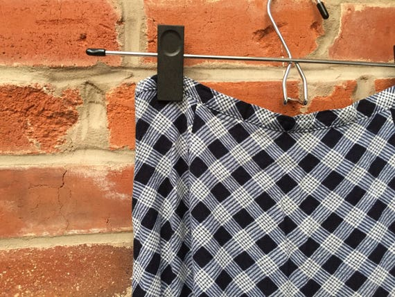 Vintage 90s Blue White Plaid Check Maxi Skirt Wom… - image 2