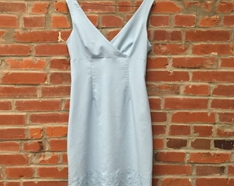 Vintage 90s Light Blue Eyelet Trim Surplice Dress Womens