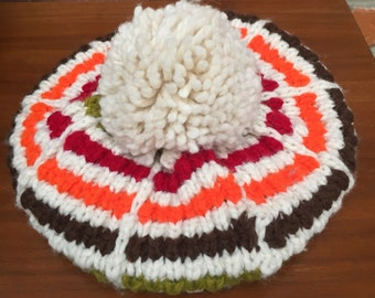 Vintage 60s 70s Colorful Stripe Knit Beret Beanie Hat Pom Pom Womens