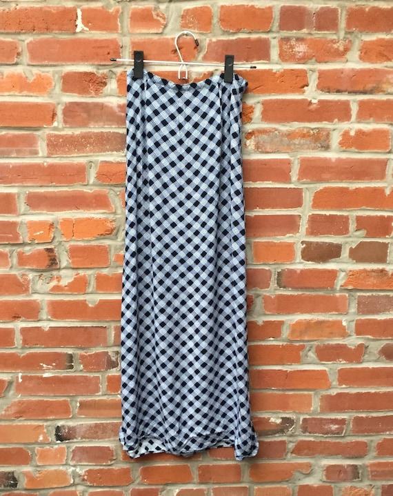 Vintage 90s Blue White Plaid Check Maxi Skirt Wom… - image 1