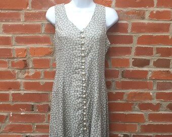 Vintage 90s Floral Print Dress Pearl Buttons Lace Up Back Womens