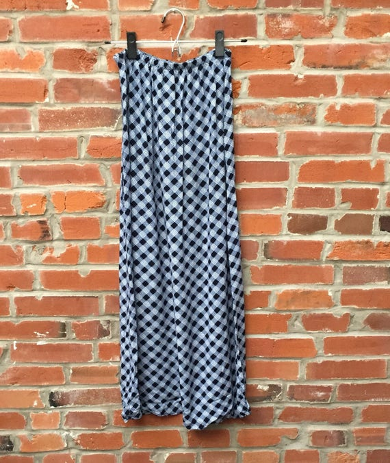 Vintage 90s Blue White Plaid Check Maxi Skirt Wom… - image 4