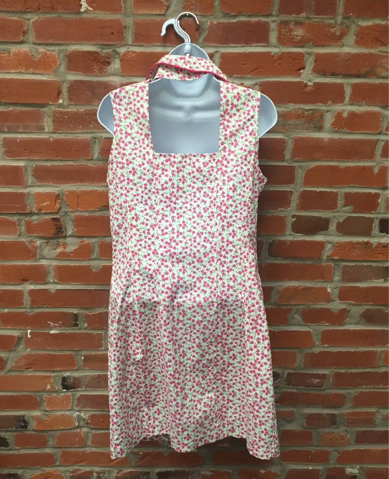 Vintage 90s White Pink Floral Collar Dress Button Front Back Cutout Womens