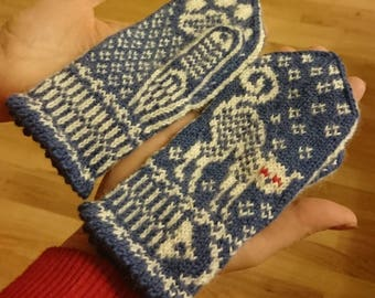 Mittens with the kittens; boy's gloves, mittens for 3-5 years old child; hand knitted mittens, kid's mittens; Christmas gift; cat mittens