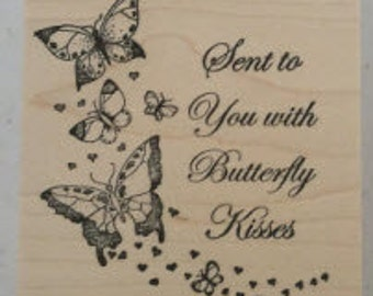 Butterfly Kisses Rubber Stamp - 114W02