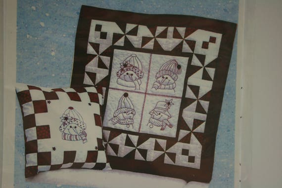 Snowman Quilt Pattern Snow People Redwork Embroidery Wall Etsy