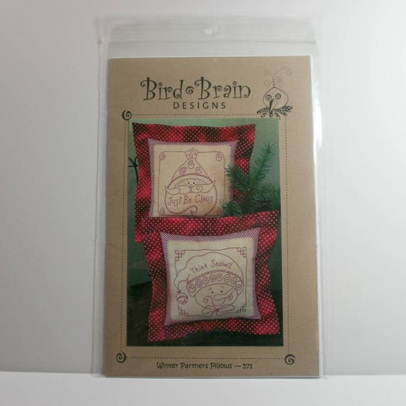 Redwork Embroidery Pattern Winter Partners Pillows Two Etsy