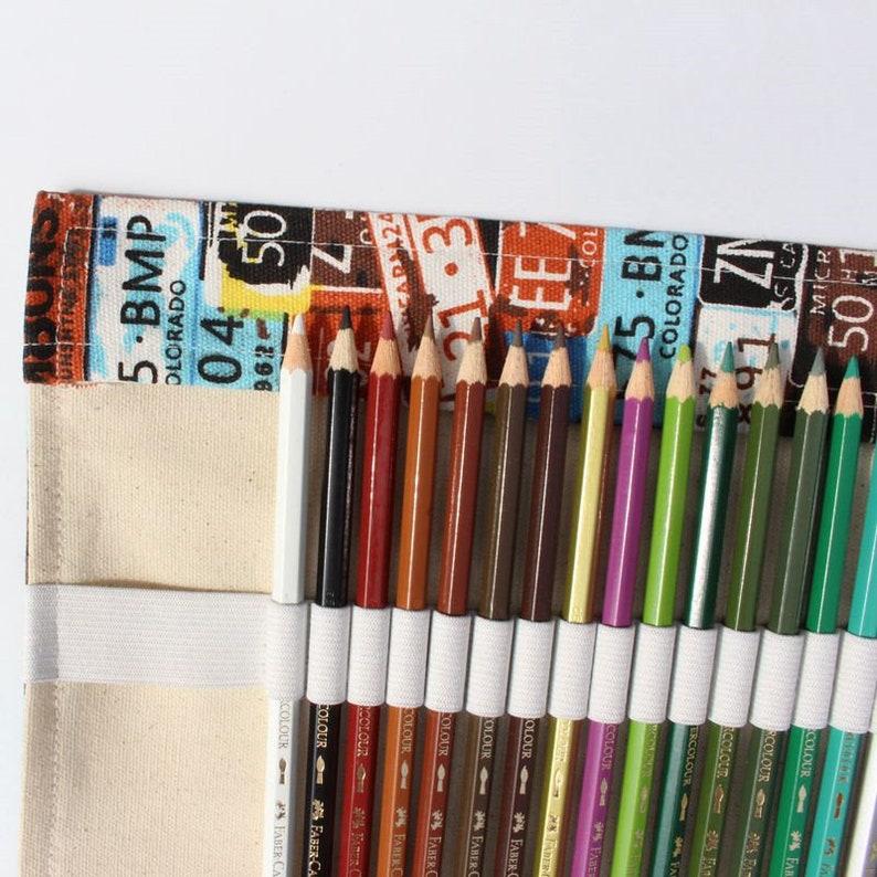 License Plate Pencil Wrap Canvas Pencil Cover Canvas Pencil Bags 364872 holes Pencil Pouch