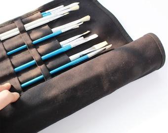 Black Paint Brush Roll, Artist Roll, Brush Case, Canvas Brush Wrap, Brushes Holder, Makeup Brush Roll, Gift for Painters, Gift for kids