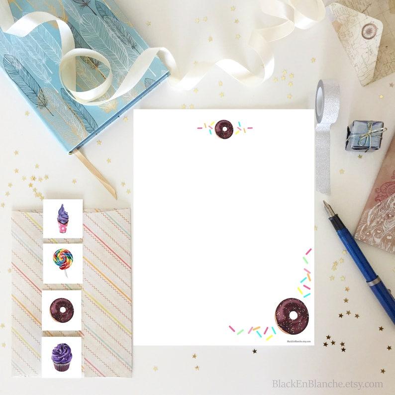 Donuts Letter Writing Set / Writing Paper Set / Pen Pal Set / image 0