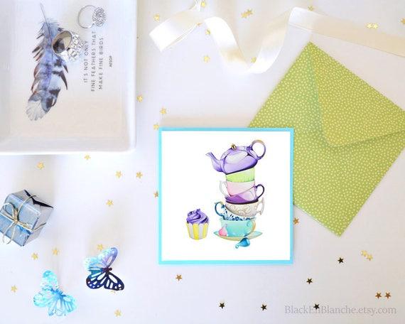 Blank Greeting Card Afternoon Tea Invitation Tea Party Etsy