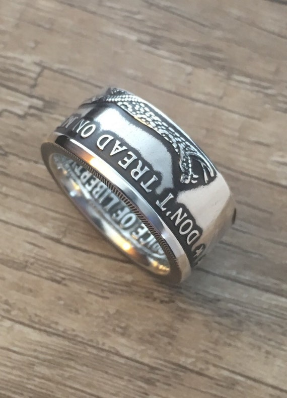 Don/'t Tread On Me Gadsden Pure Silver Coin Ring 999 1oz