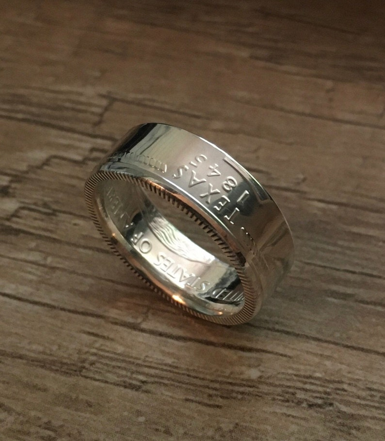 Coin Rings Handmade from 90/% Silver Uncirculated Texas State Quarters Sizes 3-12 including 12 and 14 sizes