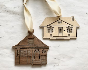 Wooden House Portrait Ornament