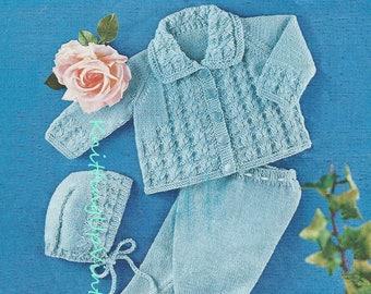 Baby Knitting Pattern pdf Pram Set Matinee Coat Leggings Bonnet  Double Knit
